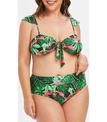 floral leaf knot plus size bikini swimsuit