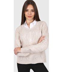sweater natural moni tricot calado