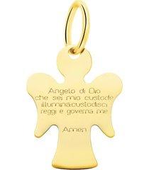 ciondolo angioletto e preghiera in oro giallo per unisex