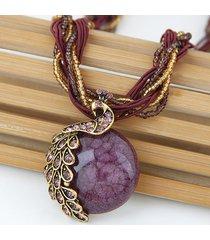 collana con ciondolo boemo fatto a mano con perline tessute con pietre preziose e gioielli etnici per le donne