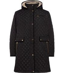 plus size women's lauren ralph lauren quilted coat with faux shearling lining, size 3x - black