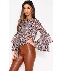 sheer snake print ruffle sleeve blouse, nude