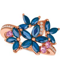 le vian multi-sapphire (1-9/10 ct. t.w.) & diamond (1/10 ct. t.w.) ring in 14k rose gold