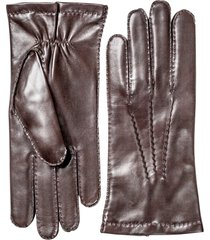 men's hestra leather gloves, size s/m - brown