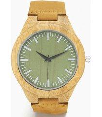 reloj ajustable madera cuero mostaza millam