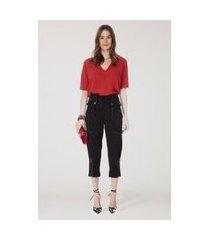 t-shirt decote v profundo lisa basico vermelho madri - 36