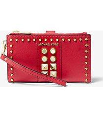 mk portafoglio adele per smartphone in pelle saffiano con borchie - rosso brillante (rosso) - michael kors