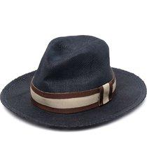 eleventy stripe-print fedora hat - blue