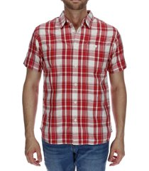 camisa hombre foundation large plaid rojo cat