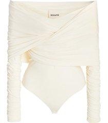 lily draped off-shoulder bodysuit cream