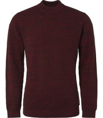 no excess pullover, high r-neck, 2 col twiste chili