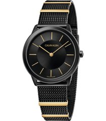 calvin klein women's midsize minimal two-tone pvd stainless steel mesh bracelet watch 35mm