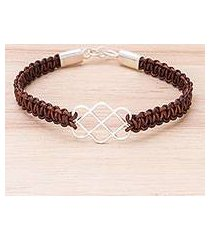 sterling silver and leather pendant bracelet, 'infinity way in brown' (thailand)