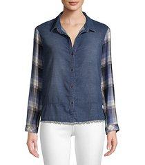 denim & plaid patchwork shirt