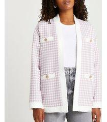river island womens lilac dogtooth boucle jacket