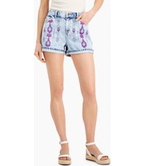 inc luxe cotton embroidered denim shorts, created for macy's