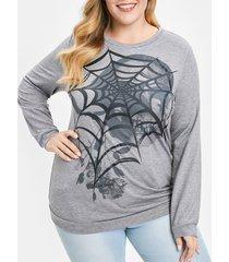 plus size skull graphic halloween sweatshirt