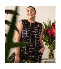 blusa regata xadrez com ombreiras comfy curve & plus size | ashua curve e plus size | preto | gg