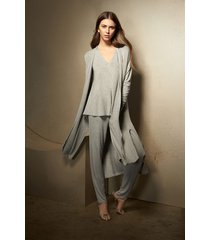 natori lounge long cardigan top, women's, grey, size l natori