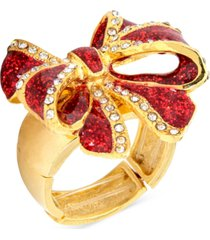 holiday lane gold-tone pave & glitter red tied-bow statement stretch ring, created for macy's