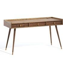 biurko orzechowe z trzema szufladami. mid century