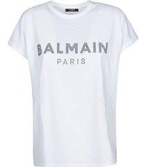 balmain beaded logo t-shirt