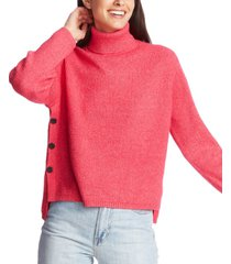 1.state waffle-knit button-detail turtleneck sweater