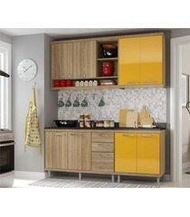 cozinha compacta completa multimã³veis com 4 peã§as sicãlia 5819 argila/amarelo - bege/incolor - dafiti
