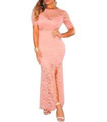 vestido largo grupo tabu 615 - rosa con encaje