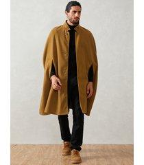 abrigo informal de lana de moda para hombre con cuello alto y capa
