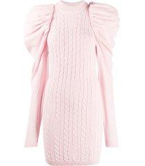 gcds oversized-shoulder jumper dress - pink