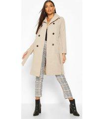 longline pocket detail wool look trench coat, stone
