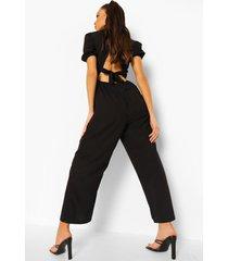 cullotte jumpsuit met pofmouwen en rugstrik, black