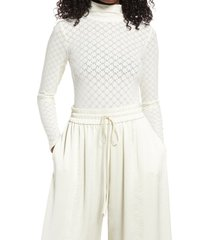 open edit long sleeve lace bodysuit, size small in ivory bone at nordstrom