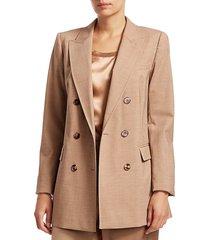 lafayette 148 new york women's slade high line double-breasted wool-blend jacket - teak multi - size 4
