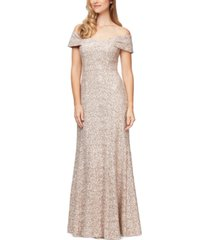 alex evenings off-the-shoulder soutache gown, created for macy's