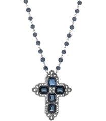 2028 women's pewter rectangle sapphire blue color crystal cross beaded necklace