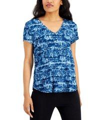 alfani petite printed v-neck t-shirt, created for macy's