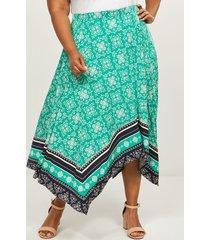 lane bryant women's printed sharkbite midi skirt 14/16 teal & navy print