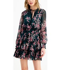 bar iii floral-print mini tie-neck dress, created for macy's