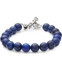 lapis & stainless steel toggle bracelet