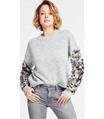 wełniany sweter z dużymi cekinami