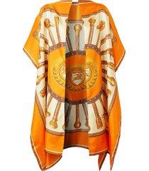 burberry archive-print scarf cape - orange