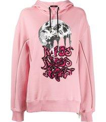 diesel long sleeve dropped shoulder hoodie - pink