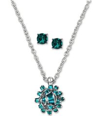 charter club gift bow pendant necklace & crystal stud earrings set, created for macy's