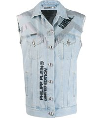 philipp plein scarface denim vest - blue