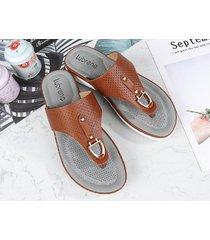 el verano lleva sandalias de moda salvajes femeninas-marrón