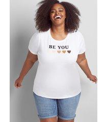 lane bryant women's be you graphic tee 34/36 white