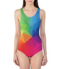 rainbow geometric shapes women's swimsuit