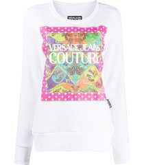 versace jeans couture logo print sweatshirt - white